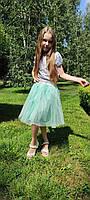 Пышная фатиновая юбка мятного цвет от 2 до 10 лет 98-164 см
