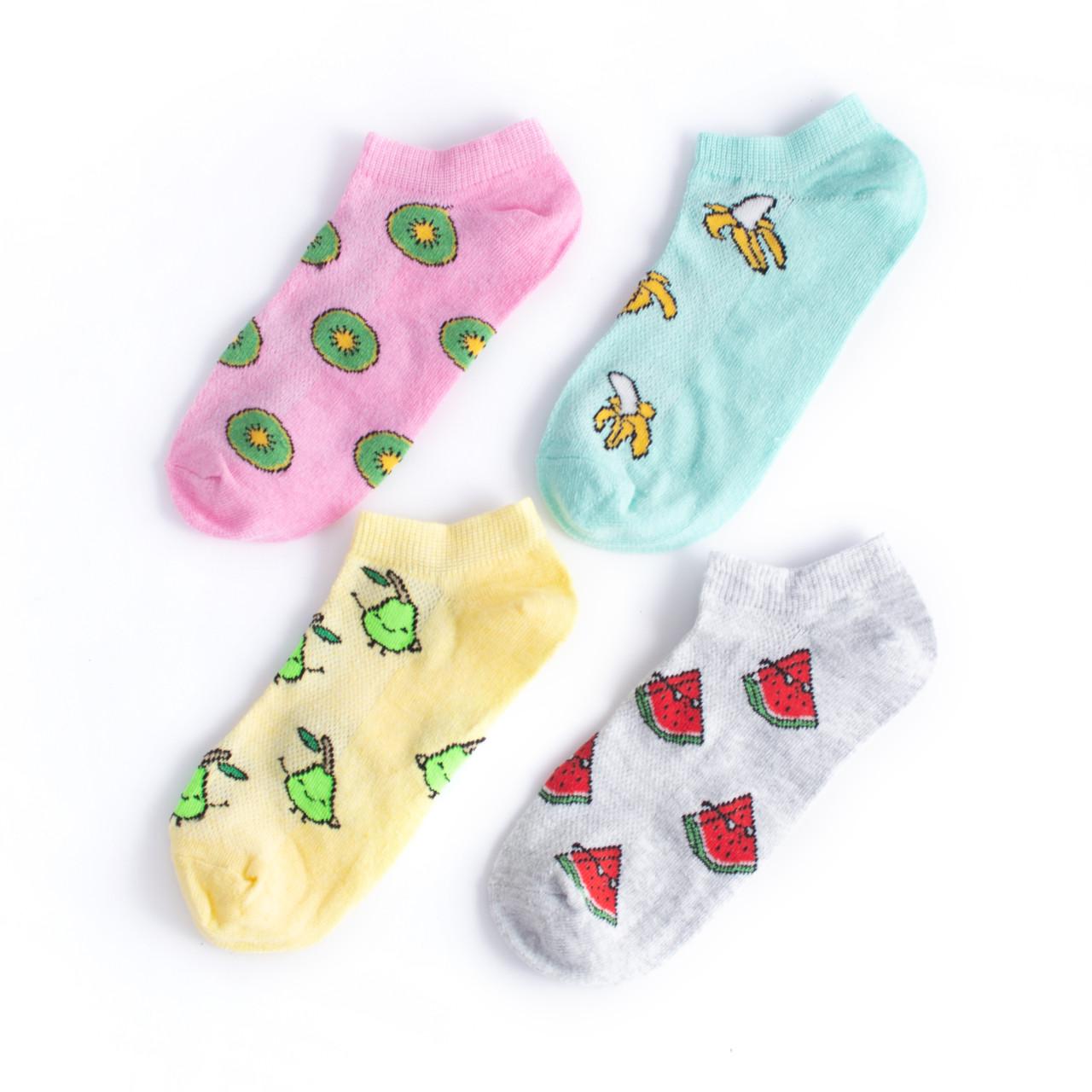 """Набір коротких шкарпеток в сіточку з 4 пар """"Фрукти"""""""