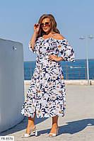 Софтовое красивое свободное платье на пуговицах с цветочным принтом миди р: 50-52, 54-56, 58-60 арт. 847