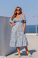 Легкое софтовое свободное платье длины миди принт цветы и горошек р: 48-50, 52-54, 56-58, 60-62 арт. 698