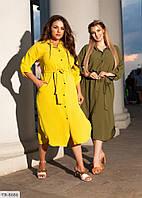 Однотонное стильное практичное платье рубашка под пояс длины миди р: 50-52, 54-56 арт. 142