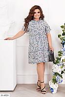 Нежное легкое софтовое приталенное платье с цветочным принтом р: 48-50, 52-54 арт. 2266