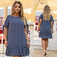 Красивое свободное шифоновое платье трапеция по колено на лето батал р: 48, 50, 52, 54, 56 арт. 2051