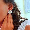 Серебряные серьги Монетки - Круглые серьги серебро - Крупные круглые серебряные серьги, фото 2