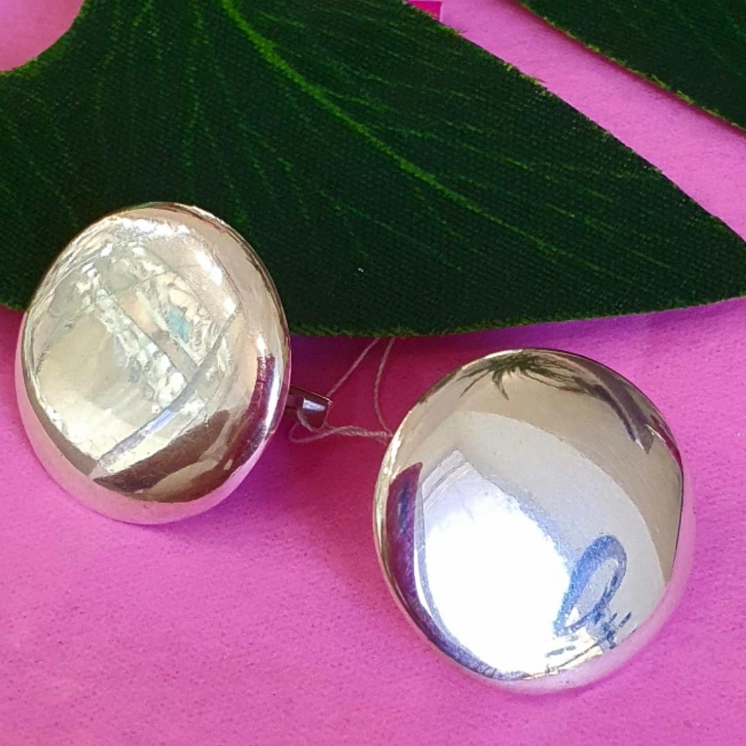 Серебряные серьги Монетки - Круглые серьги серебро - Крупные круглые серебряные серьги