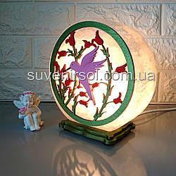 Соляной светильник круглый Колибри цветной