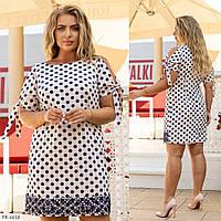 Пряме сукня жіноча літнє до середини стегна в горошок короткий рукав р: 48, 50, 52, 54, 56 арт. 2051