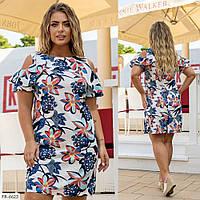 Пряме сукня жіноча літнє до середини стегна в принт короткий рукав з воланом р: 48,50,52,54,56 арт. 1036