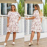 Ніжне софтовое сукня вільного крою з принтом і воланом р: 48, 50, 52, 54, 56 арт. 2061