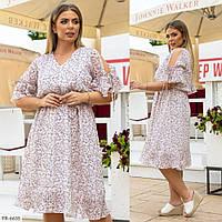 Нежное шифоновое приталенное платье с принтом Размер: 48, 50, 52, 54 арт. 2062