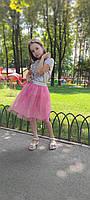 Нежная нарядная юбка из фатина от 2 до 10 лет 98-164 см, фото 1