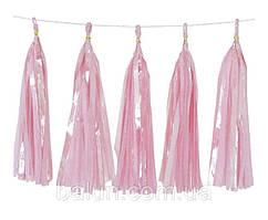 Паперовий тасел (рожевий) 35см (5 шт.)