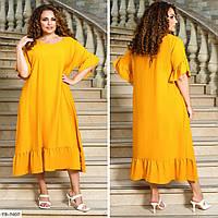 Однотонне комфортне лляне плаття а-образного силуету р: 48-50, 52-54, 56-58, 60-62, 64-66 арт. 3481
