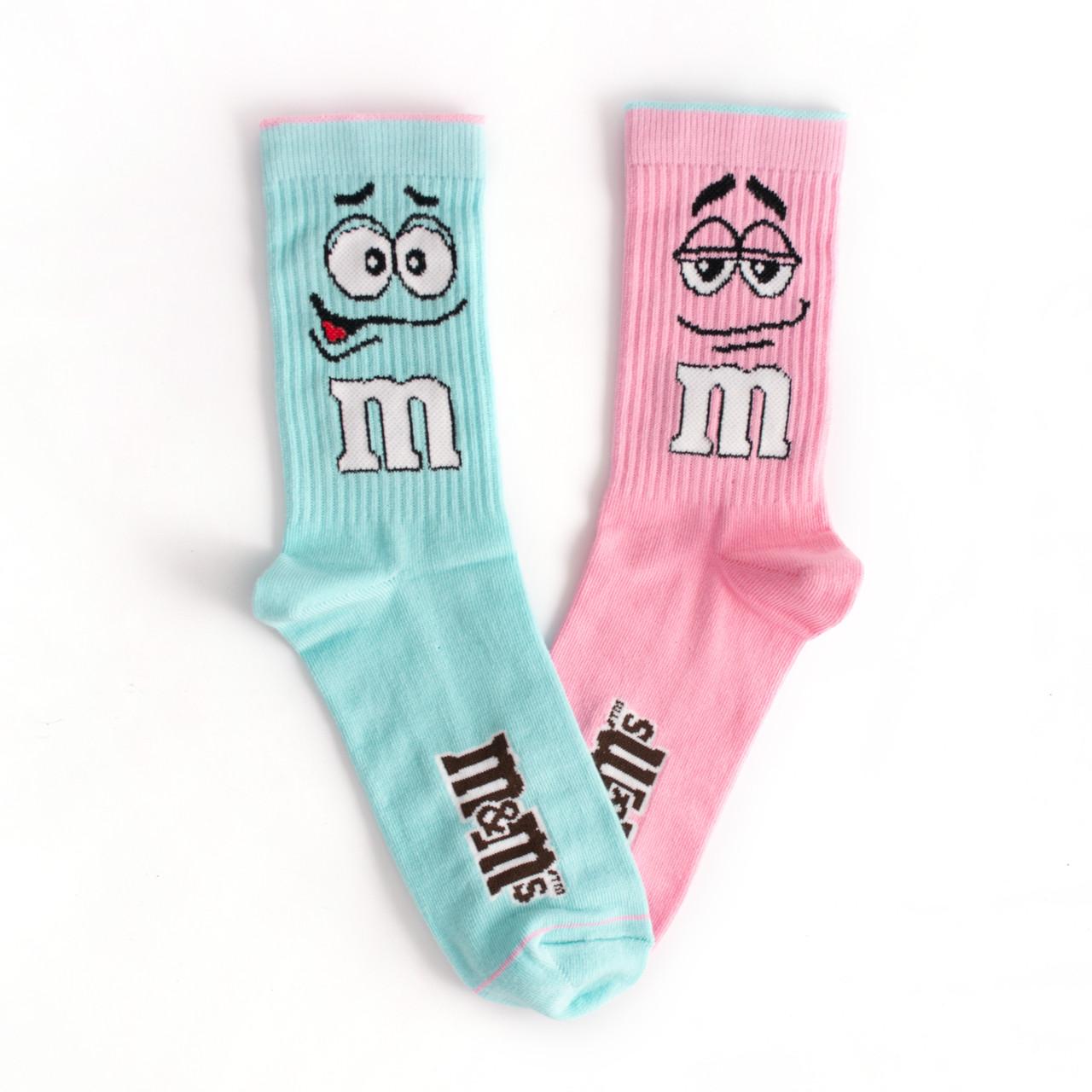 """Носки из высококачественного хлопка с оригинальным принтом """"M&M's"""" Розовый / Бирюзовый"""