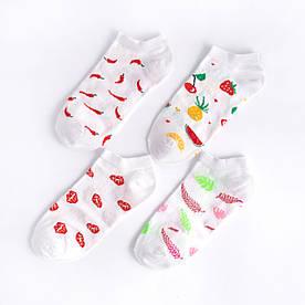 """Набір коротких білих шкарпеток з 4 пар """"Фрукти"""""""