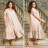 Однотонне зручне повсякденне сукня вільного крою р: 48-50, 52-54, 56-58, 60-62, 64-66 арт. 3447