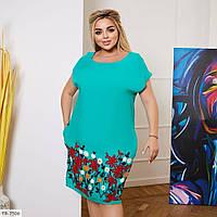 Красивое однотонное платье с вышивкой и карманами р: 48-50, 52-54, 56-58, 60-62 арт. 1510