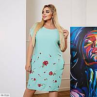 Красивое однотонное платье с вышивкой из штапеля р: 48-50, 52-54, 56-58, 60-62 арт. 1512