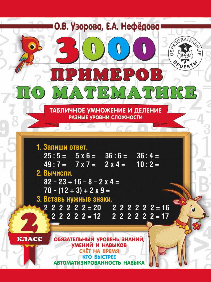 3000 прикладів з математики. Табличне множення і ділення. Різні рівні складності. 2 клас