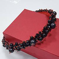 Ободок на волосы черный, обруч, венок на голову ручной работы, диадема из бисера и чешского хрусталя
