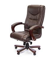 Кожаное директорское кресло с высокой спинкой и деревянным декором АРТУР EX MB коричневый
