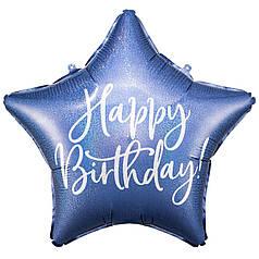 """Зірка 18"""" PARTY DECO-ПД Happy Birthday - синій голографик (УП)"""