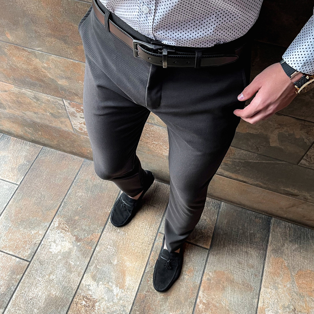 Мужские зауженные стильные брюки