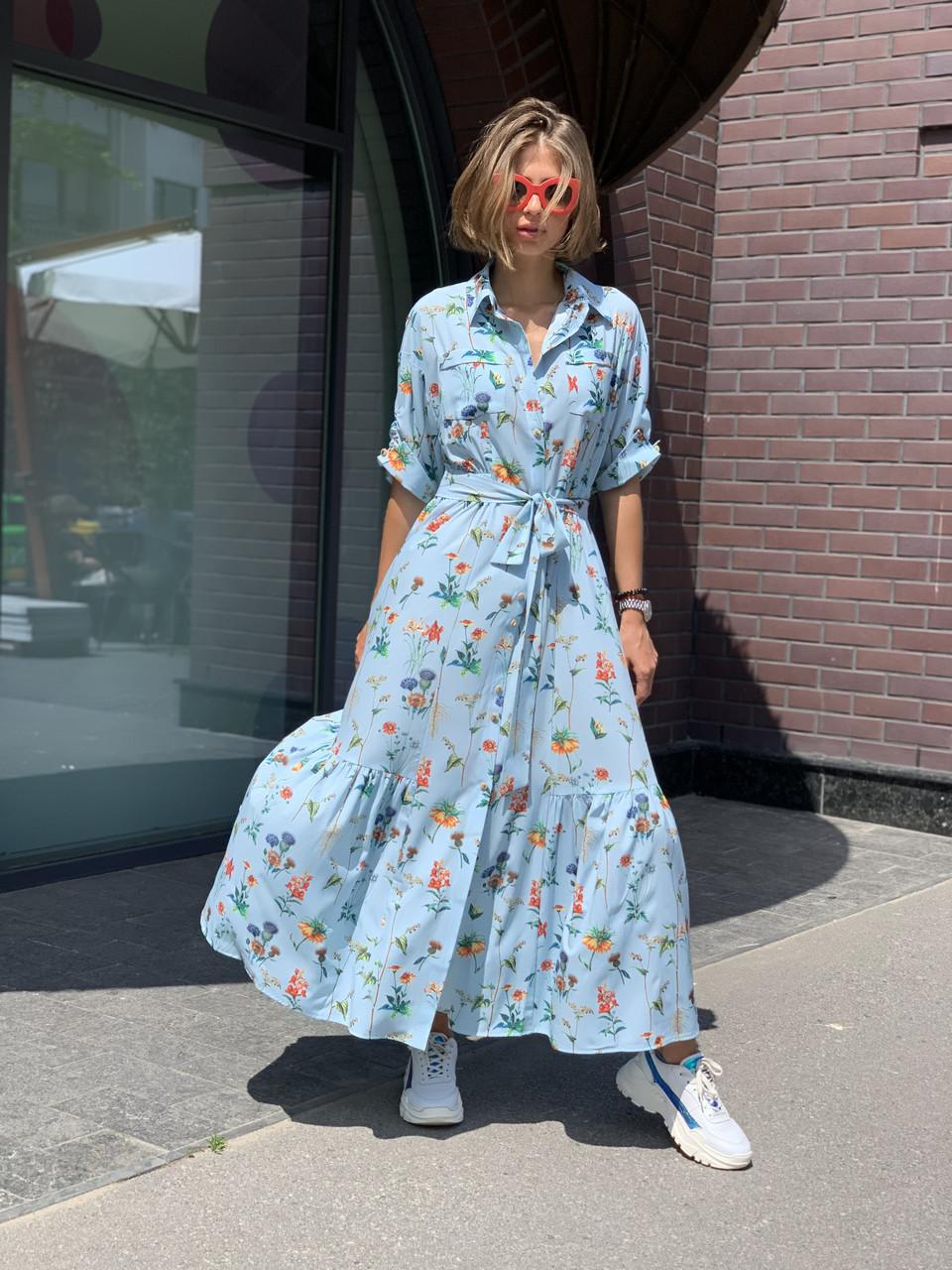 Сукня жіноча голуба з принтом Sonya Scandal MKSS220420