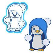 Новорічний пінгвін вирубка з трафаретом 11*9 см (TR-1)