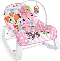 Fisher-Price Крісло качалка з вібрацією шезлонг рожевий GVG47 Infant to Toddler Rocker Pink Critters