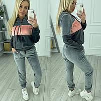 Женский велюровый двухцветный спортивный костюм в расцветках (Норма и батал), фото 2