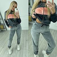 Женский велюровый двухцветный спортивный костюм в расцветках (Норма и батал), фото 4