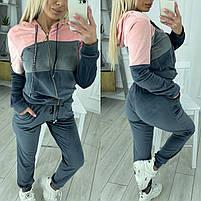 Женский велюровый двухцветный спортивный костюм в расцветках (Норма и батал), фото 5