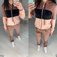 Женский велюровый двухцветный спортивный костюм в расцветках (Норма и батал), фото 6