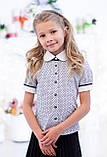 Блузочка шкільна біла в синій горошок мод. 5007д, фото 2