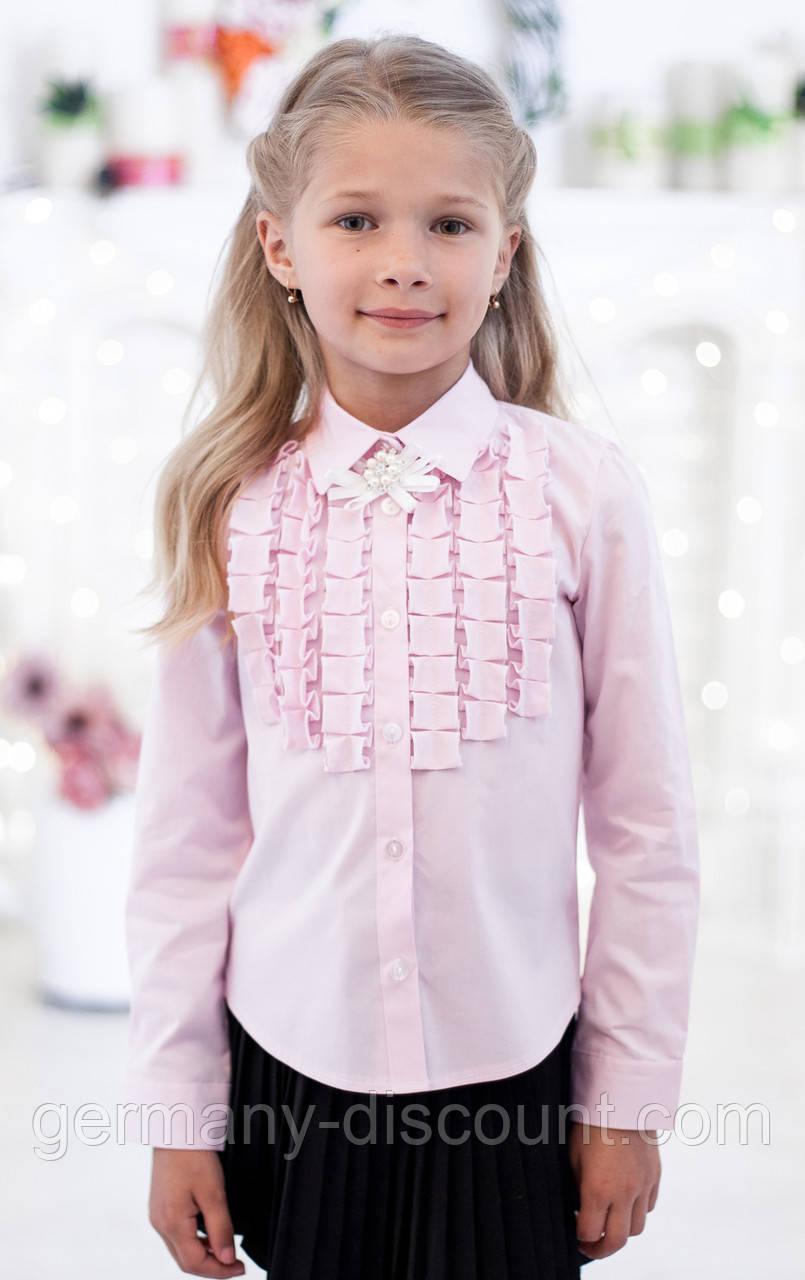 Шкільна блузка з декором рюшами-плісе мод. 5178 рожева