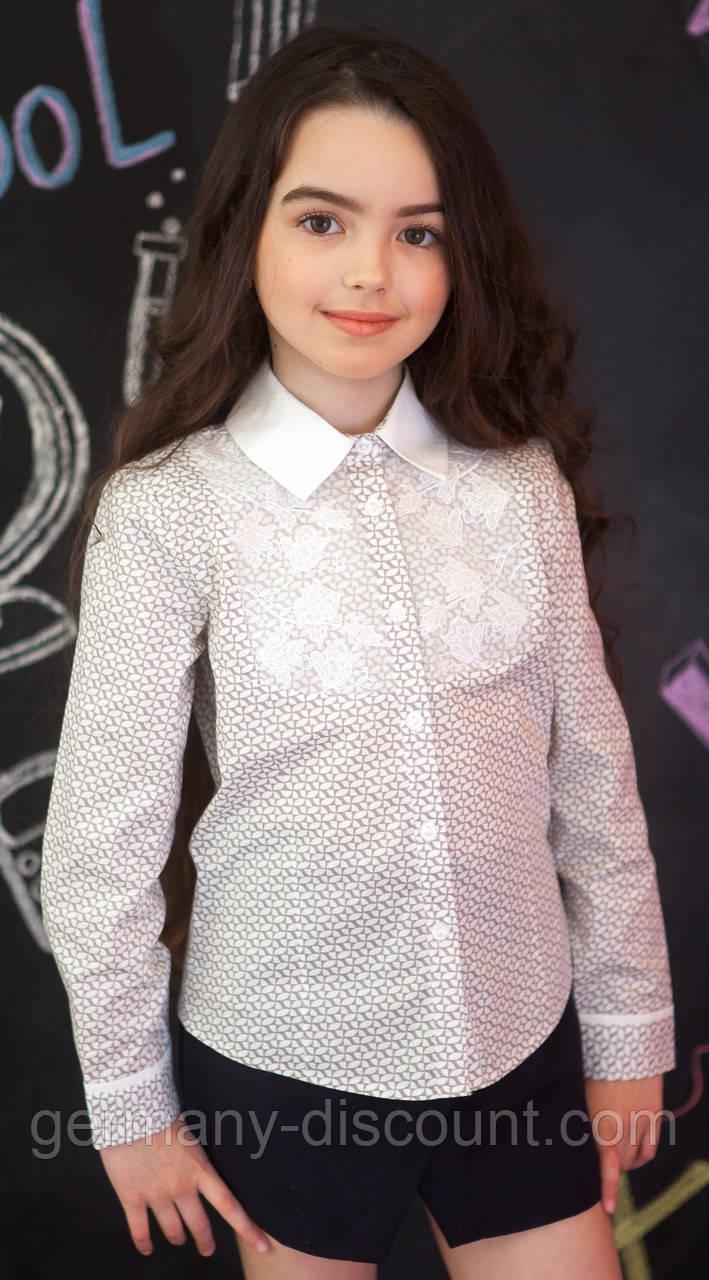 Сорочка для дівчинки з принтом і мереживом