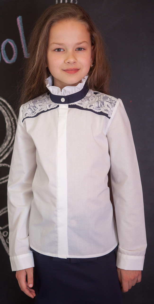 Шкільна нарядна блузка з мереживом мод.8071