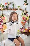 Шкільна нарядна блузка з мереживом мод.8071, фото 3