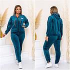 Спортивный костюм женский батал NOBILITAS 48 - 58 синий велюр (арт. 21030), фото 3