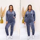 Спортивный костюм женский батал NOBILITAS 48 - 58 синий велюр (арт. 21030), фото 6