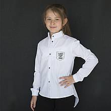 Блузка сорочка для дівчинки, з довгим рукавом, біла, SmileTime Crazy