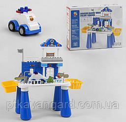 Столик игровой с Конструктором Полицейский участок, машинка, питомец 55 больших деталей