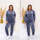 Спортивний костюм жіночий батал NOBILITAS 48 - 58 бірюзовий велюр (арт. 21030), фото 6