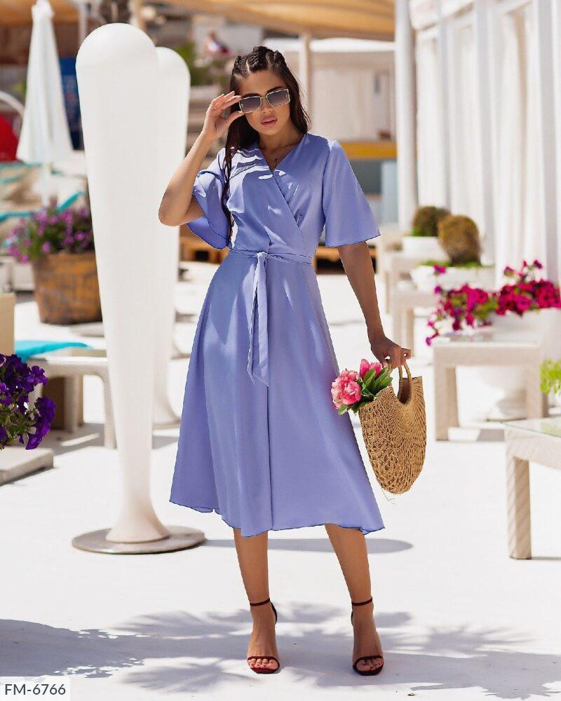Сукня жіноча модна з спідницею кльош за коліно міді на запах короткий рукав р-ри 42-46 арт. 1032