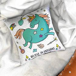 Подушка з принтом Believe in unicorns 30x30, 40x40, 50x50 (3P_FAM003)