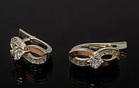 Серьги серебряные 925 пробы с накладками золота 375 пробы, фото 1