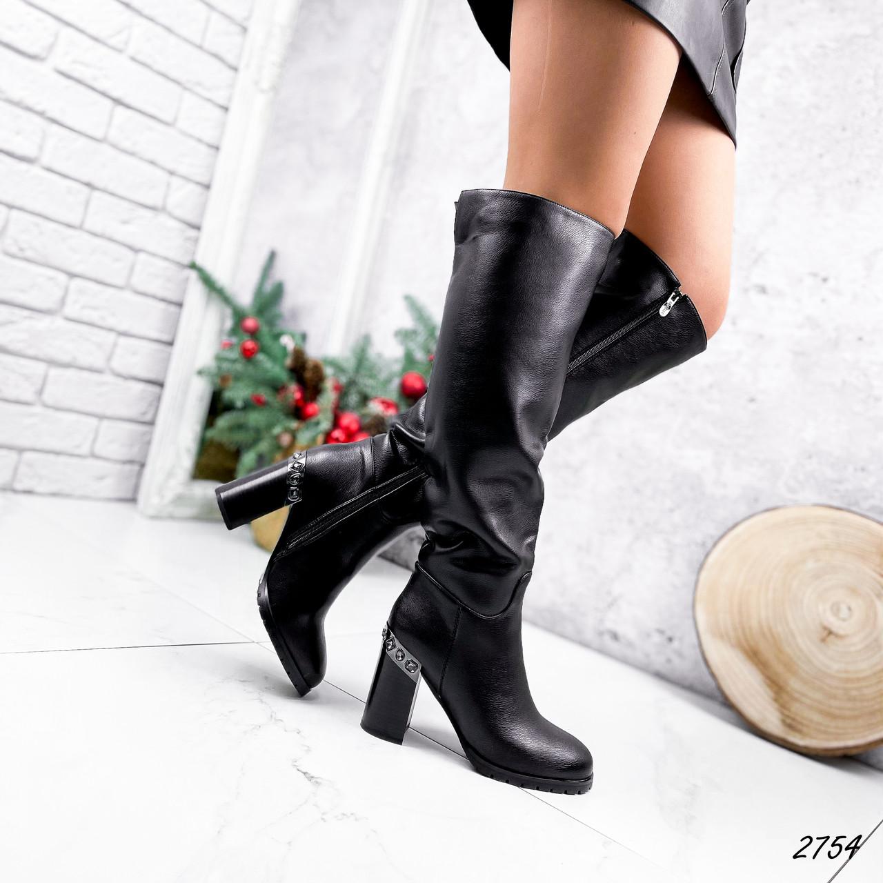 Сапоги женские ботфорты Silis черные 2754 ЗИМА