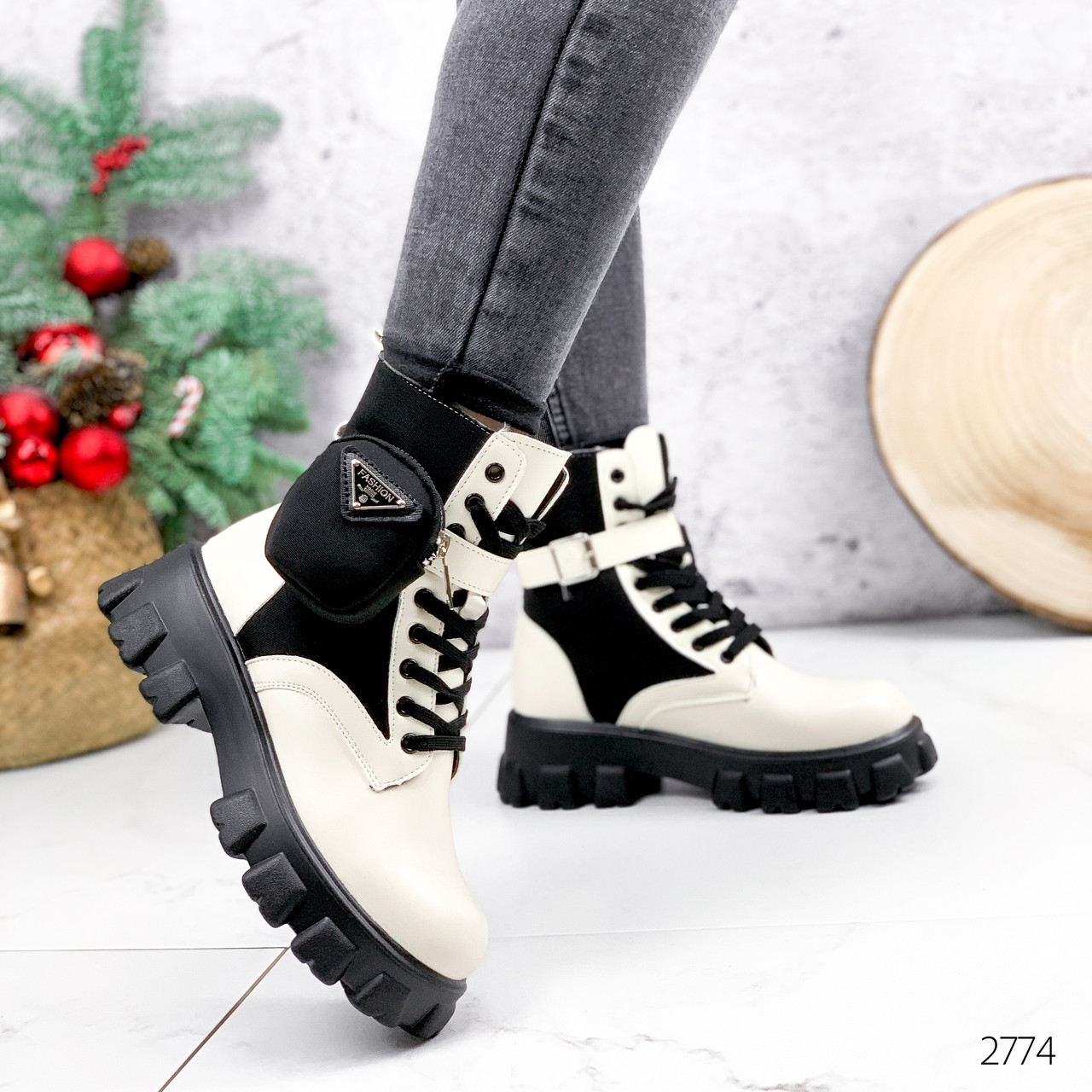 Ботинки женские Livia беж + черный 2774 ДЕМИ