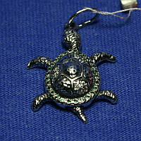 Серебряная подвеска Черепаха с фианитами 4002в